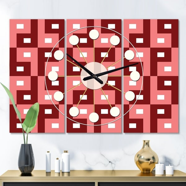 Designart 'Retro Abstract Pattern Design IV' Oversized Mid-Century wall clock - 3 Panels - 36 in. wide x 28 in. high - 3 Panels