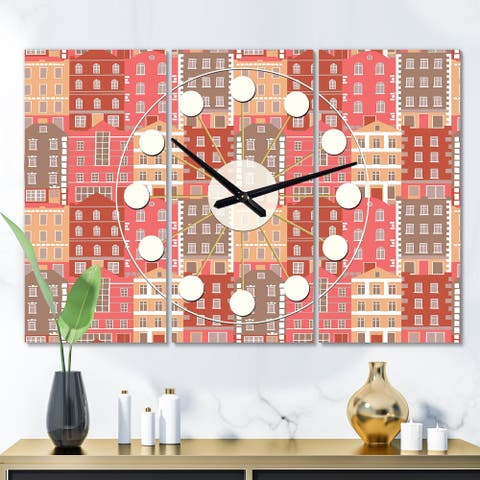Designart 'Handdrawn Colorful Houses' Oversized Mid-Century wall clock - 3 Panels - 36 in. wide x 28 in. high - 3 Panels