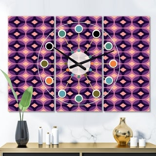 Designart 'Retro Circular Purple and Yellow Pattern' Oversized Mid-Century wall clock - 3 Panels