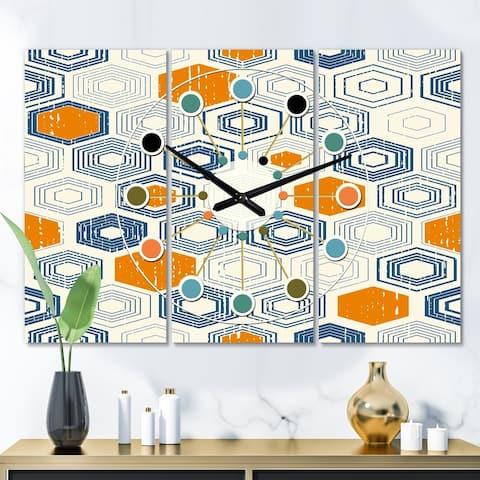 Designart 'Retro Hexagon Pattern IX' Oversized Mid-Century wall clock - 3 Panels - 36 in. wide x 28 in. high - 3 Panels