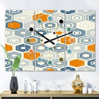 Designart 'Retro Hexagon Pattern IX' Oversized Mid-Century wall clock - 3 Panels - 36 in. wide x 28 in. high - 3 Panels