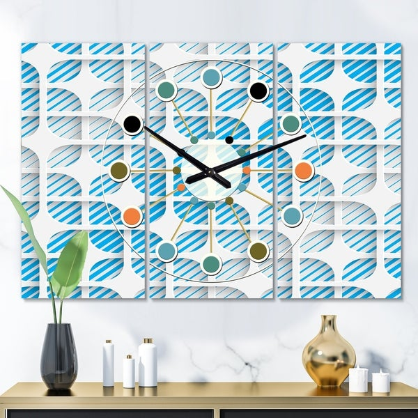 Designart '3D White and Blue Pattern II' Oversized Mid-Century wall clock - 3 Panels - 36 in. wide x 28 in. high - 3 Panels