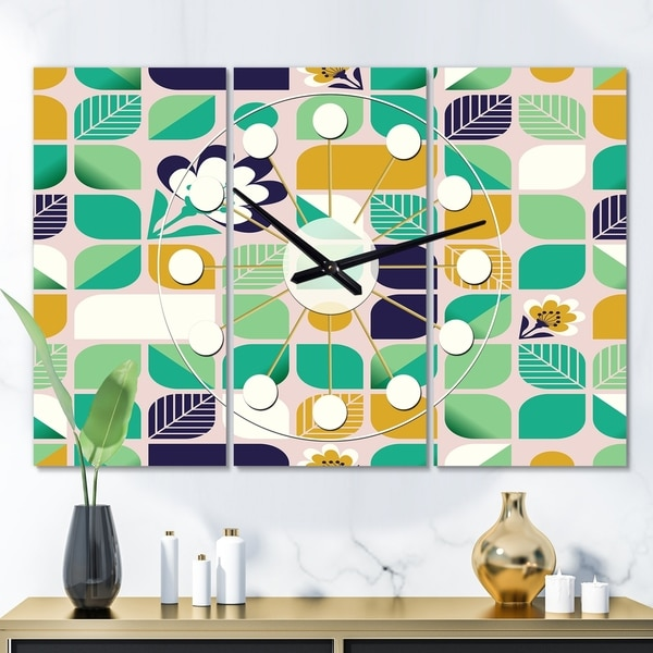 Designart 'geometric pattern with leaves and flowers' Oversized Mid-Century wall clock - 3 Panels