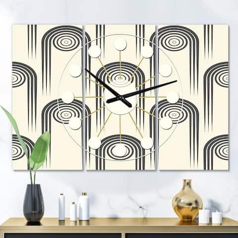 Designart 'Retro Curved Minimal Geometric Ornament II' Oversized Mid-Century wall clock - 3 Panels