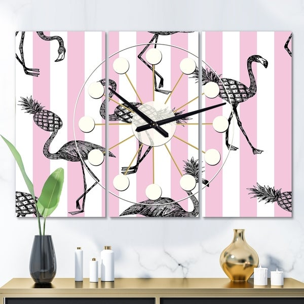 Designart 'Flamingo on Pink' Oversized Mid-Century wall clock - 3 Panels - 36 in. wide x 28 in. high - 3 Panels