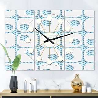 Designart '3D White and Blue Pattern III' Oversized Mid-Century wall clock - 3 Panels - 36 in. wide x 28 in. high - 3 Panels
