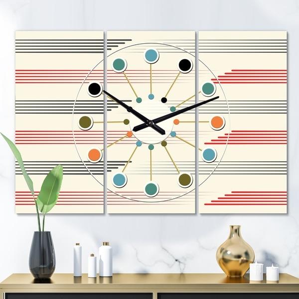 Designart 'Horizontal Retro Geometrical Pattern I' Oversized Mid-Century wall clock - 3 Panels