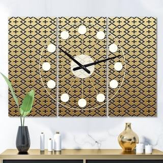 Designart 'Golden Luxury Metallic Geometrics  XVIII' Oversized Mid-Century wall clock - 3 Panels