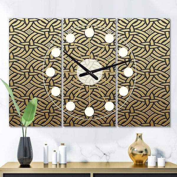 Designart 'Golden Luxury Metallic Geometrics XXI' Oversized Mid-Century wall clock - 3 Panels