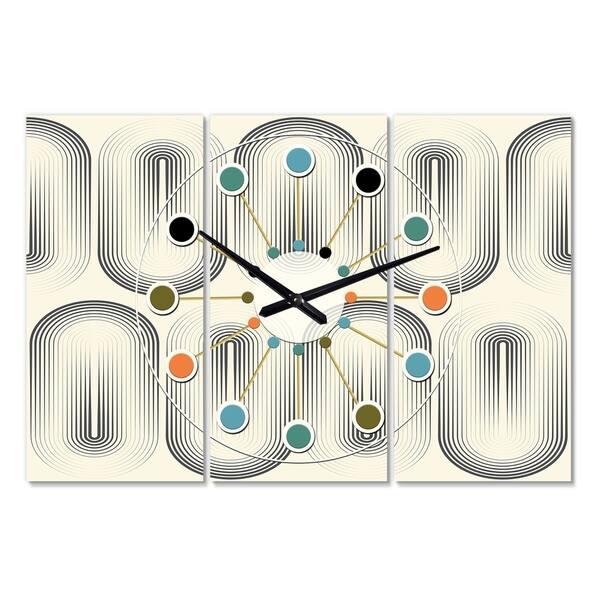 Designart Retro Curved Minimal Geometric Ornament I Oversized Mid Century Wall Clock 3 Panels On Sale Overstock 28495717