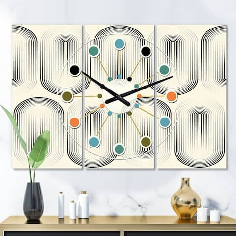 Designart 'Retro Curved Minimal Geometric Ornament I' Oversized Mid-Century wall clock - 3 Panels