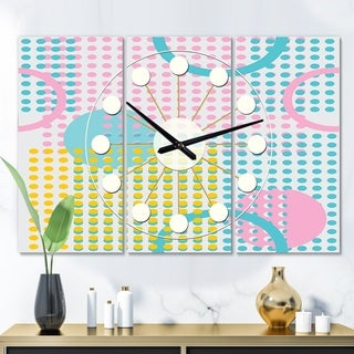 Designart 'Circular Retro Geometry I ' Oversized Mid-Century wall clock - 3 Panels - 36 in. wide x 28 in. high - 3 Panels