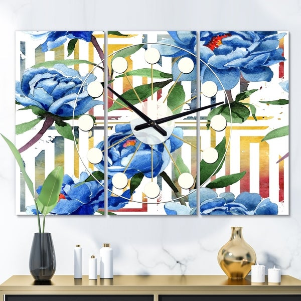 Designart 'Retro Floral Botanical Design I' Oversized Mid-Century wall clock - 3 Panels - 36 in. wide x 28 in. high - 3 Panels