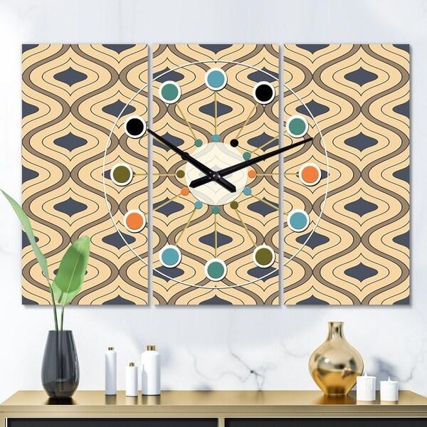 Designart 'Retro Ornamental Design VII' Oversized Mid-Century wall clock - 3 Panels - 36 in. wide x 28 in. high - 3 Panels