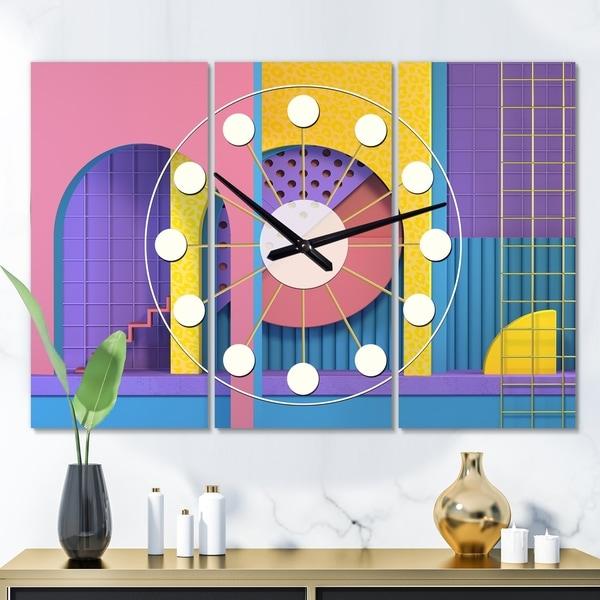 Designart 'Abstract Retro Geometric Architecture' Oversized Mid-Century wall clock - 3 Panels