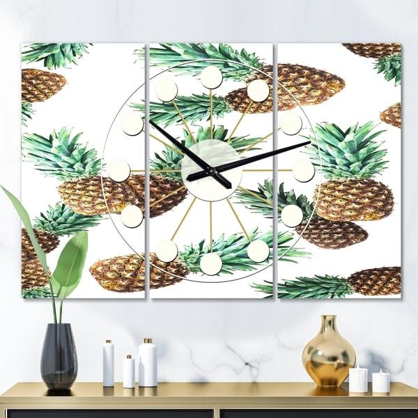 Designart 'Pineapple Summer Bliss V' Oversized Mid-Century wall clock - 3 Panels - 36 in. wide x 28 in. high - 3 Panels