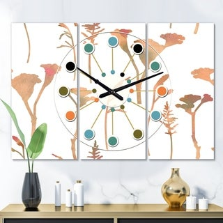 Designart 'Retro Handdrawn Flowers I' Oversized Mid-Century wall clock - 3 Panels - 36 in. wide x 28 in. high - 3 Panels