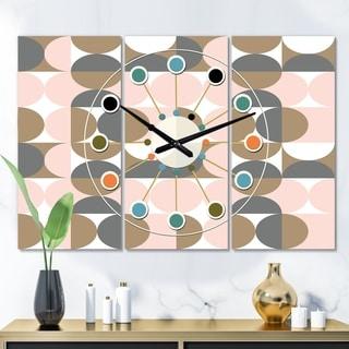 Designart 'Retro Circular Pattern IV' Oversized Mid-Century wall clock - 3 Panels - 36 in. wide x 28 in. high - 3 Panels