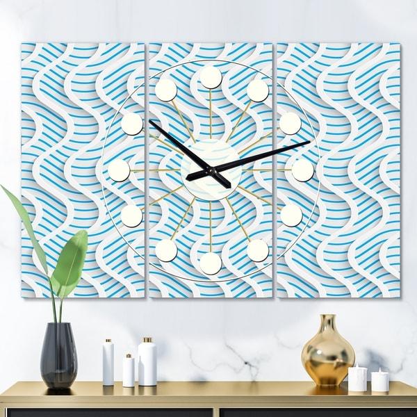 Designart '3D White and Light Blue Pattern II' Oversized Mid-Century wall clock - 3 Panels