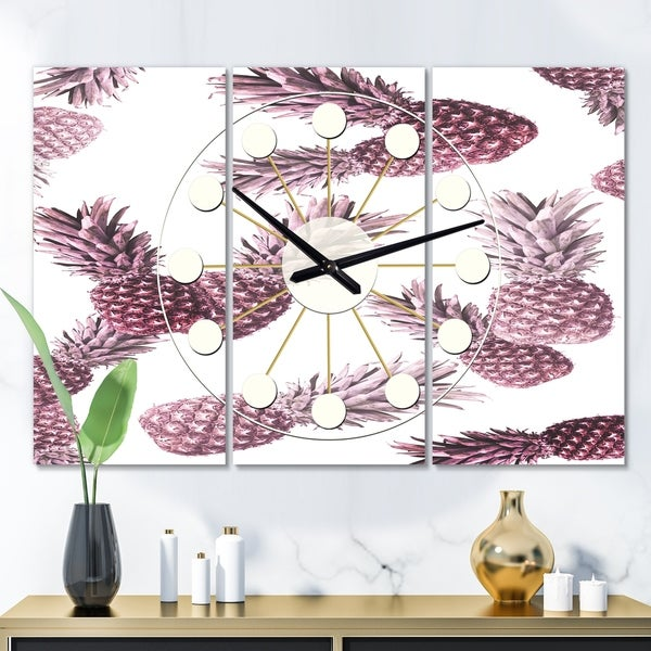 Designart 'Pineapple Summer Bliss III' Oversized Mid-Century wall clock - 3 Panels - 36 in. wide x 28 in. high - 3 Panels