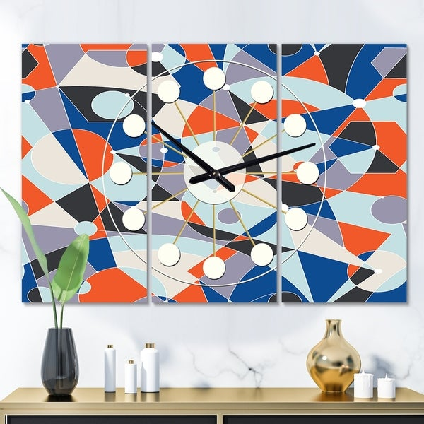 Designart 'Retro Geometric Grid IV' Oversized Mid-Century wall clock - 3 Panels - 36 in. wide x 28 in. high - 3 Panels. Opens flyout.