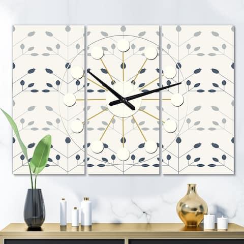 Porch & Den 'Floral Retro Botanical Pattern I' 3-Panel Wall Clock
