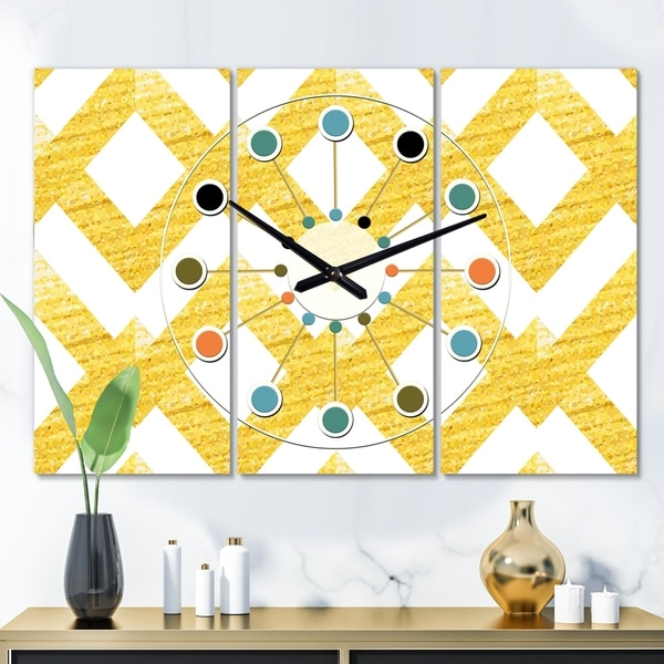 Designart 'Gold glittering lines pattern' Oversized Mid-Century wall clock - 3 Panels - 36 in. wide x 28 in. high - 3 Panels