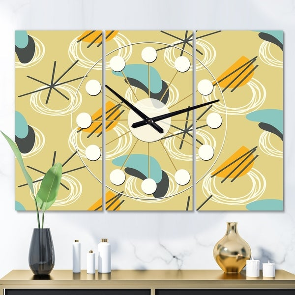 Designart 'Retro Abstract Design II' Oversized Mid-Century wall clock - 3 Panels - 36 in. wide x 28 in. high - 3 Panels