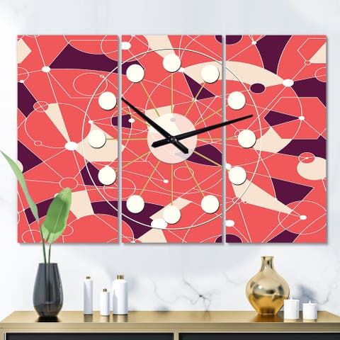 Designart 'Retro Geometric Grid I' Oversized Mid-Century wall clock - 3 Panels - 36 in. wide x 28 in. high - 3 Panels