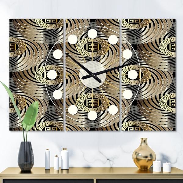 Designart 'Circular Geometric Retro Abstract I' Oversized Mid-Century wall clock - 3 Panels