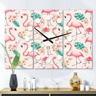 Designart 'Tropical Botanicals, Flowers and Flamingo II' Oversized Mid-Century wall clock - 3 Panels