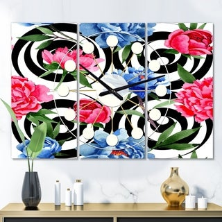 Designart 'Floral Retro Pattern I' Oversized Mid-Century wall clock - 3 Panels - 36 in. wide x 28 in. high - 3 Panels