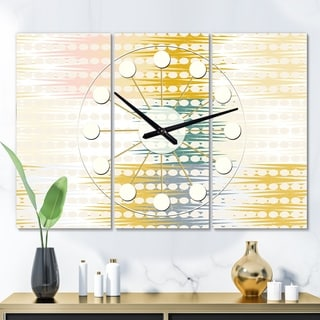 Designart 'Retro Abstract Design VIII' Oversized Mid-Century wall clock - 3 Panels - 36 in. wide x 28 in. high - 3 Panels