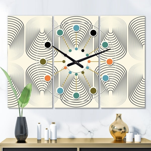 Designart 'Monochrome Geometric Pattern X' Oversized Mid-Century wall clock - 3 Panels - 36 in. wide x 28 in. high - 3 Panels