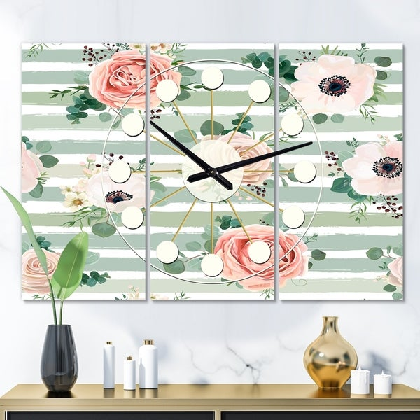 Designart 'Floral Retro Pattern V' Oversized Mid-Century wall clock - 3 Panels - 36 in. wide x 28 in. high - 3 Panels