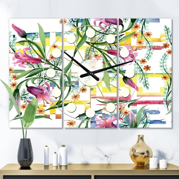 Designart 'Floral Botanical Retro XI' Oversized Mid-Century wall clock - 3 Panels - 36 in. wide x 28 in. high - 3 Panels