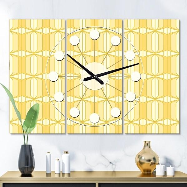 Designart 'Retro Ornamental Design III' Oversized Mid-Century wall clock - 3 Panels - 36 in. wide x 28 in. high - 3 Panels