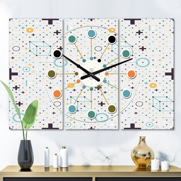 Designart 'Minimalistic Geometric Elements' Oversized Mid-Century wall clock - 3 Panels - 36 in. wide x 28 in. high - 3 Panels