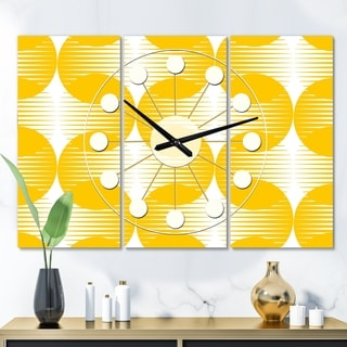 Designart 'Abstract Retro Geometric Pattern IV' Oversized Mid-Century wall clock - 3 Panels
