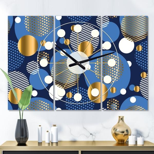 Designart 'Circular Abstract Retro Geometric XI' Oversized Mid-Century wall clock - 3 Panels