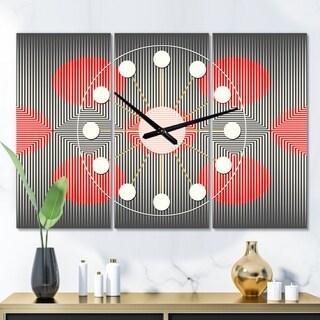 Designart 'Modern Circle and Line Geometric Pattern' Oversized Mid-Century wall clock - 3 Panels