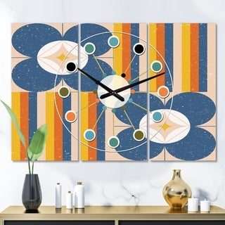 Designart 'Retro Floral Pattern XI' Oversized Mid-Century wall clock - 3 Panels - 36 in. wide x 28 in. high - 3 Panels