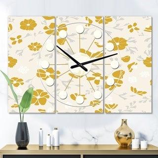 Designart 'Retro Handdrawn Poppies III' Oversized Mid-Century wall clock - 3 Panels - 36 in. wide x 28 in. high - 3 Panels