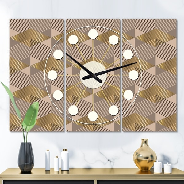 Designart 'Retro Square Design VI' Oversized Mid-Century wall clock - 3 Panels - 36 in. wide x 28 in. high - 3 Panels