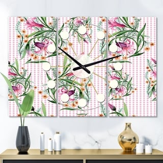 Designart 'Floral Botanical Retro X' Oversized Mid-Century wall clock - 3 Panels - 36 in. wide x 28 in. high - 3 Panels