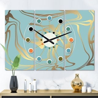 Designart 'Golden Marble Design I' Oversized Mid-Century wall clock - 3 Panels - 36 in. wide x 28 in. high - 3 Panels