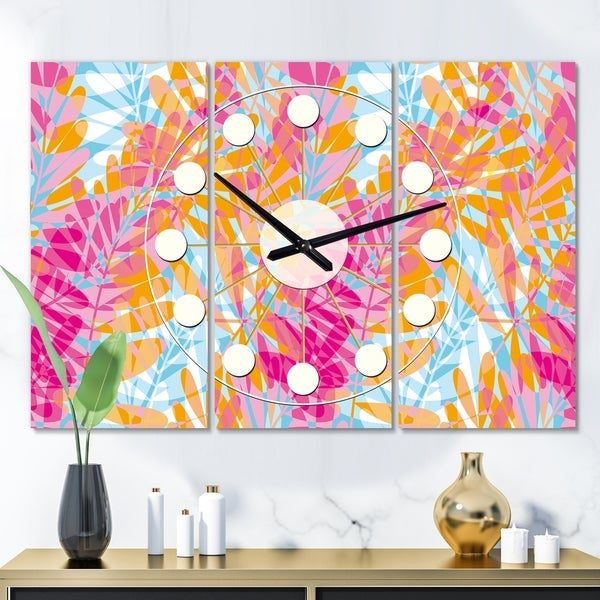 Designart 'Retro Floral Pattern III' Oversized Mid-Century wall clock - 3 Panels - 36 in. wide x 28 in. high - 3 Panels