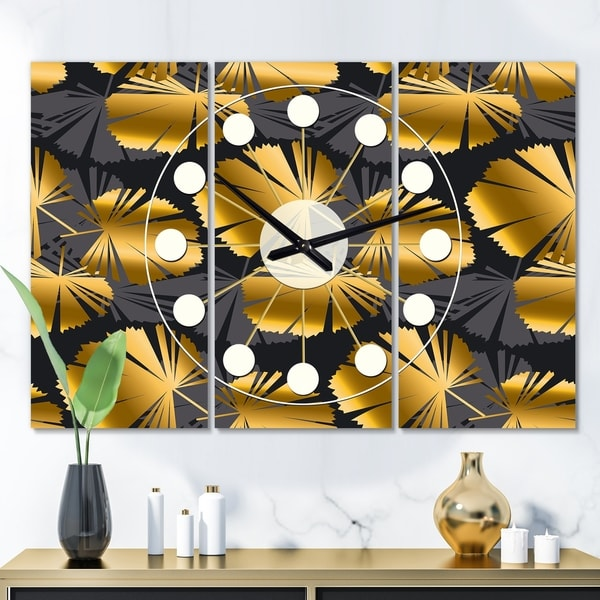 Designart 'Golden Palm Leaves III' Oversized Mid-Century wall clock - 3 Panels - 36 in. wide x 28 in. high - 3 Panels
