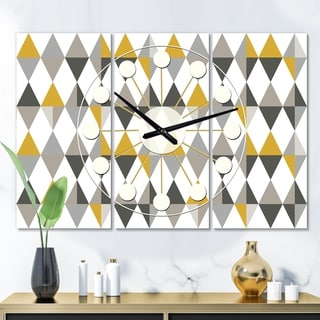 Designart 'Diamond Retro VIII' Oversized Mid-Century wall clock - 3 Panels - 36 in. wide x 28 in. high - 3 Panels