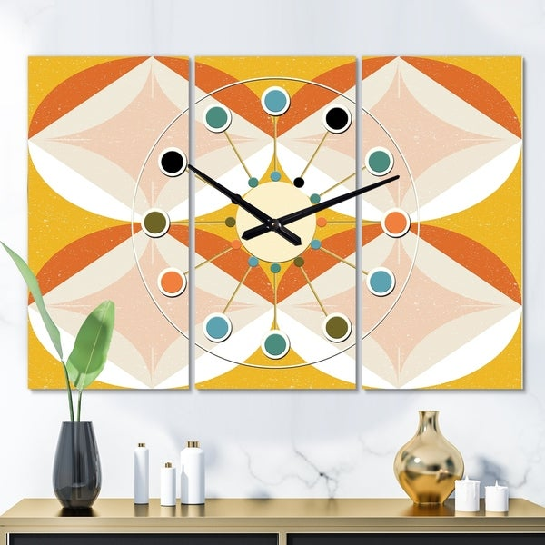 Designart 'Retro Abstract Design XII' Oversized Mid-Century wall clock - 3 Panels - 36 in. wide x 28 in. high - 3 Panels